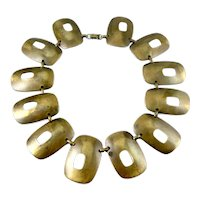 HUGE Vintage 1940s 50s Handmade Bronze Geometric Modernist NECKLACE