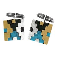 RARE 1950s 60s Tono Taxco Handmade Mixed Metals Sterling Mexican Modernist Geometric CUFFLINKS