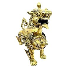 BIG Vintage 1950s 60s Chinese Brass Ornate FOO DOG LION Figure Statue SCULPTURE