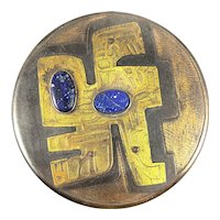 SUPERB 1960s 70s Yauquén Chile Handmade Mixed Metals & Lapis Abstract Modernist Lidded BOX