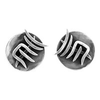 RARE Vintage 1950s PEGGY MILLER Mid Century Studio Modernist Sterling Silver Screwback EARRINGS