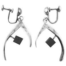 BIG Vintage 1950s Handmade Sterling Silver & Wood Modernist Dangling Screwback EARRINGS