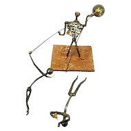 Vintage 1940s Handmade Modern Mixed Metals Iron Steel Copper & Bronze SURREALIST CIRCUS Balance SCULPTURE