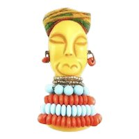 HUGE Rare 1930s Carved Bakelite Fashionable Woman with Hat Necklace and Earrings Brooch PIN