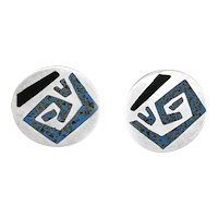 RARE 1950s Stella POPOWSKI Handmade Sterling Silver & Stone Inlay Mexican Modernist EARRINGS