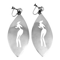 HUGE 1950s Antonio Pineda Taxco 970 Silver Mexican Modernist Dancer Design Dangling EARRINGS