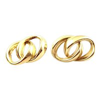BIG 1960s 70s SIGNED Handmade 14K Gold Curbed Link Interlocking Rings Design EARRINGS