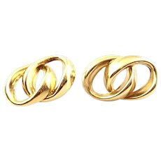 BIG 1960s 70s SIGNED Handmade 14K Gold Curbed Link Interlocking Rings Design EARRINGS