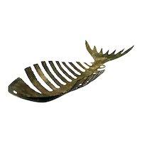 HUGE 1950s 60s Handmade Patinated Torch Cut Bronze Brutalist Modernist FISH BONES Centerpiece SCULPTURE