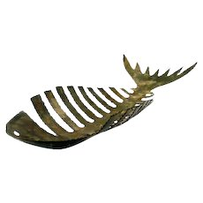 HUGE 1950s 60s Handmade Patinated Torch Cut Bronze Brutalist Modernist FISH BONES Centerpiece SCULPTURE