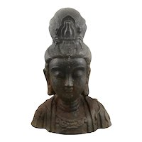 ANTIQUE Qing Dynasty Cast Iron Bust of Goddess KWAN YIN Quanyin Figure STATUE