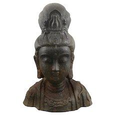 ANTIQUE Qing Dynasty Cast Iron Bust of Goddess KWAN YIN Quanyin Figure STATUE
