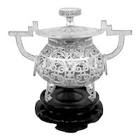 RARE 1930s 40s Chinese Export Silver Filigree Lidded CENSER with Carved Wood Base