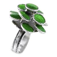 BIG Vintage 1970s Handmade Sterling & Enamel Modernist Brutalist Flower RING Size 5 US