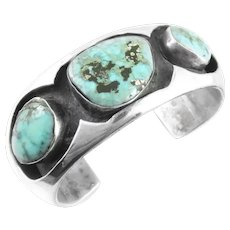 BIG 1950s 60s Native Modern Handmade Sterling & Turquoise Shadowbox Tribal Old Pawn Cuff BRACELET
