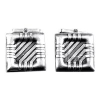 BIG Vintage 1990s Jill Newbrook London England Handmade Sterling Silver Modernist CUFFLINKS