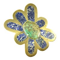 HUGE 1960s 70s Los Castillo Taxco Handmade Brass & Stone Modernist Flower Design BELT BUCKLE