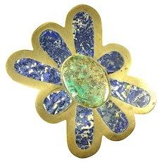 HUGE 1960s 70s Los Castillo Taxco Handmade Brass & Stone Modernist Flower Design BELT BUCKLE
