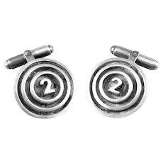 BIG Vintage 1980s 90s Thomas Mann Handmade Sterling Silver Bullseye #2 Design CUFFLINKS