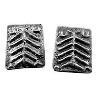 BIG 1960s 70s Signed Handmade Sterling Silver Modernist Brutalist EARRINGS