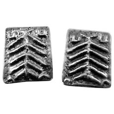 BIG 1960s 70s Signed Handmade Sterling Silver Modernist Brutalist EARRINGS