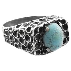 SUPERB 1960s 70s Handmade Sterling Silver & Turquoise Modernist Brutalist RING - Size 8 US