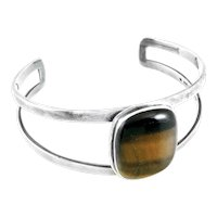 BIG Vintage 1960s SIGNED Germany Handarbeit 800 Silver & Tigereye Sculptural Modernist Cuff BRACELET