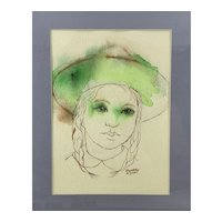 ORIGINAL 1980s Dorothy Klyver Pen & Ink & Watercolor on Paper Girl wearing Hat Framed Under Glass