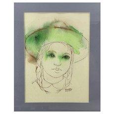 ORIGINAL 1980s Dorothy Klyver Pen & Ink & Watercolor on Paper Girl wearing Hat Framed Under Glass