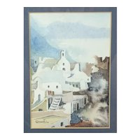 ORIGINAL 1980s Signed & Dated WATERCOLOR on Paper Southwest New Mexico Framed Under Glass