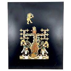 HUGE 1960s 70s Miguel Pineda Handmade Copper Enamel on Wood Pre Columbian Modernist ARTWORK