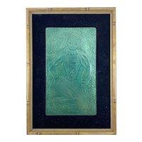RARE Original 1950s Millie Crutchfield Handmade Copper Enamel Figural JESTER Framed ARTWORK