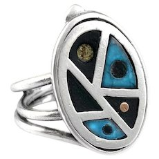 BIG 1950s 60s TONO of Taxco Handmade Mixed Metals Sterling Copper Black Onyx & Turquoise Mexican Modernist Dot RING - size 7.5 US