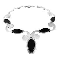 RARE 1950s 60s Felipe Martinez Taxco Handmade Sterling & Black Onyx Mexican Modernist NECKLACE