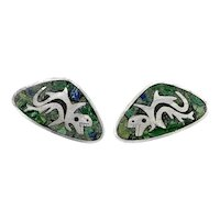 HUGE 1950s 60s Enrique Ledesma Taxco Handmade Sterling Silver Mexican Modernist Pre Columbian DRAGON Design CUFFLINKS