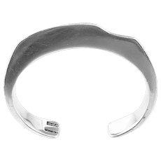 SCULPTURAL 1960s 70s Signed Handmade Sterling Silver Modernist Cuff BRACELET