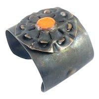 HUGE 1960s 70s Handmade Copper Enamel Hippie Modernist Brutalist BRACELET