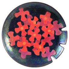 STRIKING Vintage 1960s Bovano Handmade Copper Enamel Modernist Flowers Design TRAY