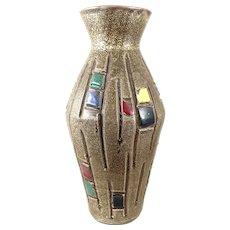 BIG Vintage 1950s Italy Italian Handmade Art Pottery Modernist Geometric Design VASE