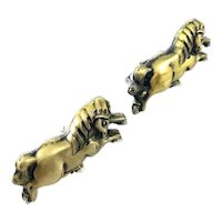 HUGE 1940s 50s Japan Japanese Handmade Mixed Metal Sterling Silver & Gold Overlay Menuki Horse Design CUFFLINKS