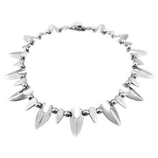 BIG Heavy 1980s Signed Taxco Handmade Sterling Silver Spiky Jagged Mexican Modernist NECKLACE