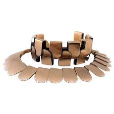 SUPERB Vintage 1950s Renoir California Handmade Copper Modernist Bracelet & Necklace SET