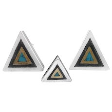 RARE 1950s 60s TONO of Taxco Handmade Mixed Metals Sterling Mexican Modernist Triangular Cufflinks & Tie Tac SET