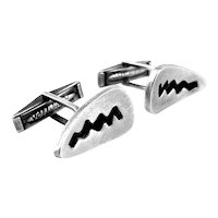 BIG 1950s Esther Lewittes California Handmade Sterling Silver Modernist CUFFLINKS