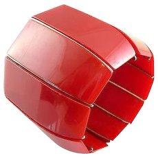 HUGE VIntage 1930s ART DECO Machine Age Handmade Carved Bright Red BAKELITE & Chrome Stretch BRACELET