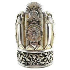 HUGE 1930s 40s Chinese Export 900 Silver Handmade Repoussage Guardian Fou Dog Lion BRACELET in Original Box