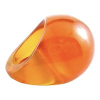 BIG Vintage 1930s Handmade Translucent Orange Prystal Bakelite Cocktail RING - Size 7 US