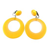 "BIG 1930s 40s Handmade Yellow Bakelite Dangling Hoop EARRINGS - 2-3/4"" long!"