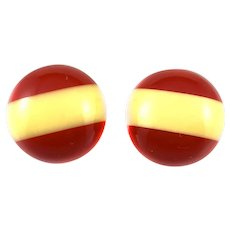 BIG Vintage 1930s Art Deco Handmade Two Color Bakelite Geometric Striped Clip EARRINGS