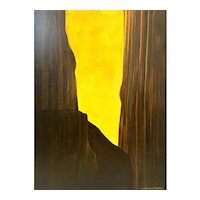 "MONUMENTAL Original 2002 Michael Pettit South Africa Acrylic on Board ""Yellow Sky #19"" PAINTING - 4' by 3'!"